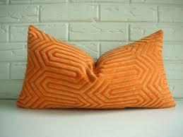 orange decorative pillows designer throw pillow cover mid century