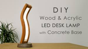 Curved Wood And Acrylic Led Desk Lamp With Concrete Base Bending