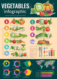 Vegetables Infographics Design Template With List Of Fresh Vegetables