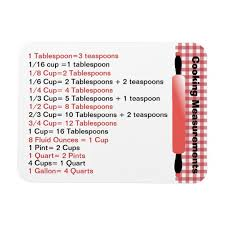 Cooking Measurement Chart Handy Cooking Measurement Chart Magnet