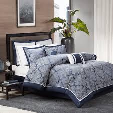 com madison park na king size bed comforter set bed in a bag navy silver jacquard fretwork pattern 8 pieces bedding sets ultra soft