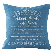 Niditw Nice Mothers Day Birthday Gift To Aunt From Nieces With Funny Quotes Lumbar Body Blue Cotton Burlap Linen Cushion Cover Pillow Case Cover Chair