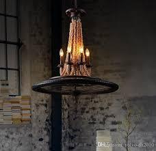 iron bicycle wheel hemp rope wood bead chandeliers american village retro industrial wind restaurant cafe bar chandeliers llfa pendant lighting