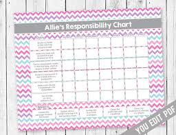 Girl Chore Chart Reward Chart Responsibility Chart Allowance Chore Chart Behavior Chart Kids Chore Chart Printable You Edit Pdf