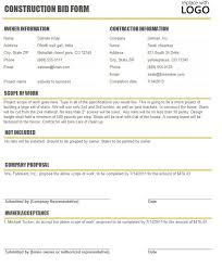 bid form example free contractor proposal template example of catering invoice