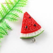 <b>Julie Wang 5PCs</b> Mini Resin Charms Red Color Watermelon Shape ...