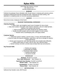 Housekeeper Room Attendant resume example