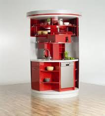 modular kitchen colors:  captivating modular small kitchen design ideas with round shape red color kitchen cabinets and storage shelves