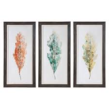 uttermost tricolor leaves by grace feyock 27 x 55 inch wall art set on leaf wall art set with uttermost tricolor leaves by grace feyock 27 x 55 inch wall art