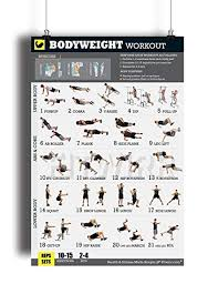 bodyweight workout exercise poster now laminated gain strength muscles and lose fat home