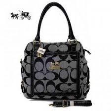 Coach Logo In Signature Medium Grey Satchels Outlet Sale VIP Shop