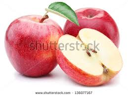 red apple slice. red apple with leaf and slice on a white background. - stock photo