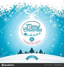 冬の風景の背景にタイポグラフィと飾りの装飾とメリー クリスマス