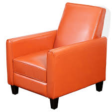darvis orange bonded leather recliner club chair by christopher