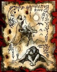 temporada de la bruja cthulhu larp arte de fragmento de necronomicon lovecraft monstruo