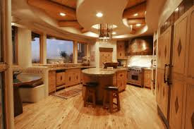 Kitchen Large Traditional Kitchen Design With Light Oak Wood Floor