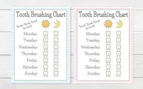 Teeth Brushing Chart Printable Girls Boys Tooth Brushing Chart Young Child Toddler Tooth Brush Chart