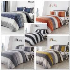 details about betley wide stripe duvet cover bed sets blue e grey ochre black white