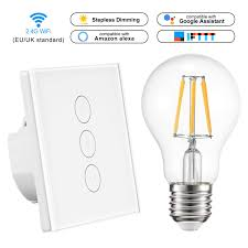 Wireless Light Dimmer Wifi Light Switch Smart Led Dimmer Touch Control Wireless Light Dimmer Compatible With Alexa Google Assistant Ifttt With Bulb