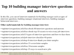 Buiding Manager Top 10 Building Manager Interview Questions And Answers