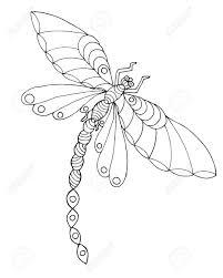 Zentangle Stylizované Vážka Etnické Vzorované Vektorové Ilustrace
