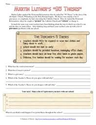 best history studies images protestant  martin luther the reformation and create your own 95 theses worksheet