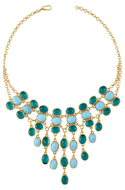 Gold Plated Turquoise Glass Multi Layer Drop <b>Necklace</b>