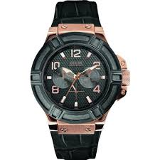 guess rigor black dial black leather strap mens single tone watch guess rigor black dial leather strap mens watch w0040g5