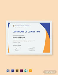 Certificate Of Completion Templates Free Completion Certificate Template Word Psd Indesign