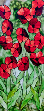 Poppies Stained Glass Pattern.  David Kennedy Designs. by  KennedyStainedGlass on Etsy
