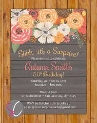 Birthday Invitation Pictures Fascinating Surprise Fall Birthday Floral Party Invite Autumn Spring Summer