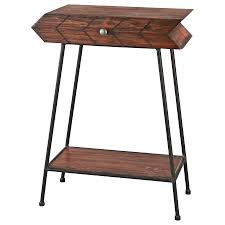 arrow 1 drawer accent table in walnut on black metal legs concept of walnut coffee table