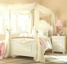 Canopy Bed Full Size White Four Poster Modern 4 Platform Wood ...