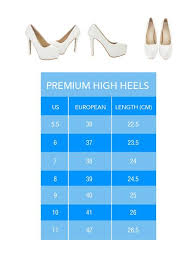 Sizing Chart Premium High Heels 2t Collection
