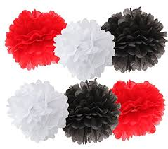 Party Decorations Tissue Paper Balls Amazon 100pcs White Black Red Mixed Color Tissue Paper Pom 66