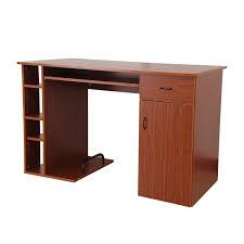image modern home office desks. HomCom 47\u201d Compact Modern Home Office Desk With Shelving Storage - Brown Golden Oak Image Desks