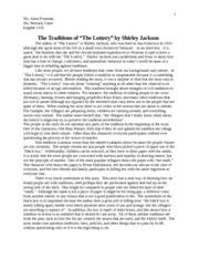 the lottery symbolic tour de force the lottery symbolic tour d  3 pages final paper the lottery alma fountain english 1102 4 23 13