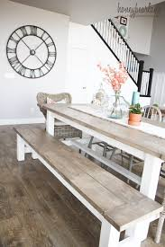 Rustic kitchen table with bench Vintage Diy Beautiful Rustic Farmhouse Table And Bench Her Finish Is Amazing Pinterest Diy Farmhouse Table And Bench House Stuff Diy Farmhouse Table