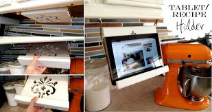 diy tablet or recipe book holder that stowes away under your cabinets when not in use