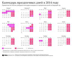 Календарь рабочих дней на год Календарь выходных дней на  Календарь рабочих дней на 2014 год