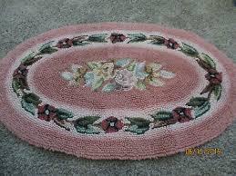 vintage pink chenille bath rug oval flowers