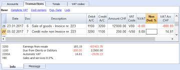 Credit Note Banana Accounting Software