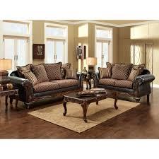 Two Piece Living Room Set Furniture Of America San Roque Livingroom Set In Crosshatch Brown