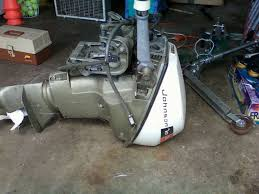 here is a 9 1 2 hp johnson outboard motor short shaft this thing is a tank practically indestructable cleaning out the garage and this must go