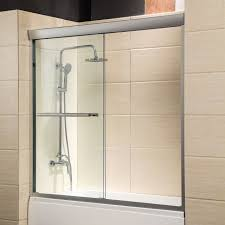 60 framed 1 4 clear glass 2 sliding bath shower door brushed nickel