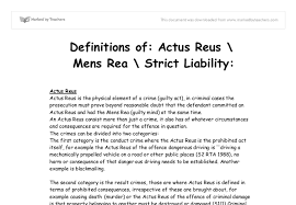 definitions of actus reus mens rea strict liability a level  document image preview