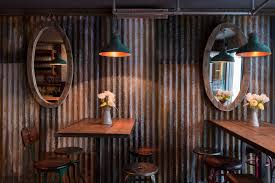 Corrugated Metal Interior Design Commercial Bar Designs Using Reclaimed Wood And Corrugated Steel