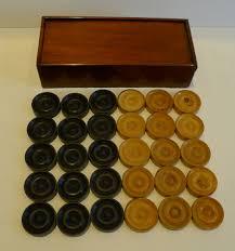 antique english boxed set ebony boxwood draughts checkers backgammon counters c 1900