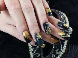 Eye Candy Nails & Training - Black and gold nail art with matt and ...