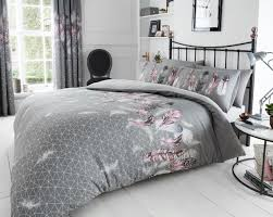 pink grey feathers printed new duvet cover and pillow case 1 of 1free